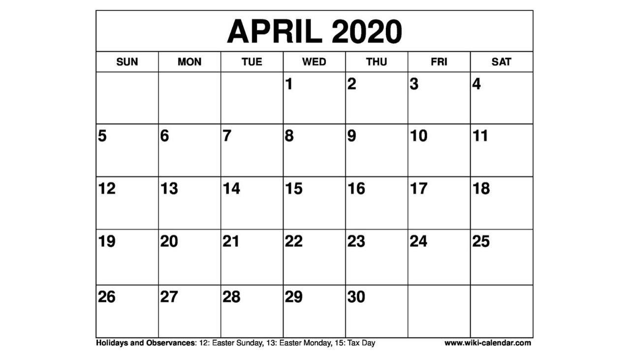 Free Printable April 2020 Calendar - Wiki-Calendar