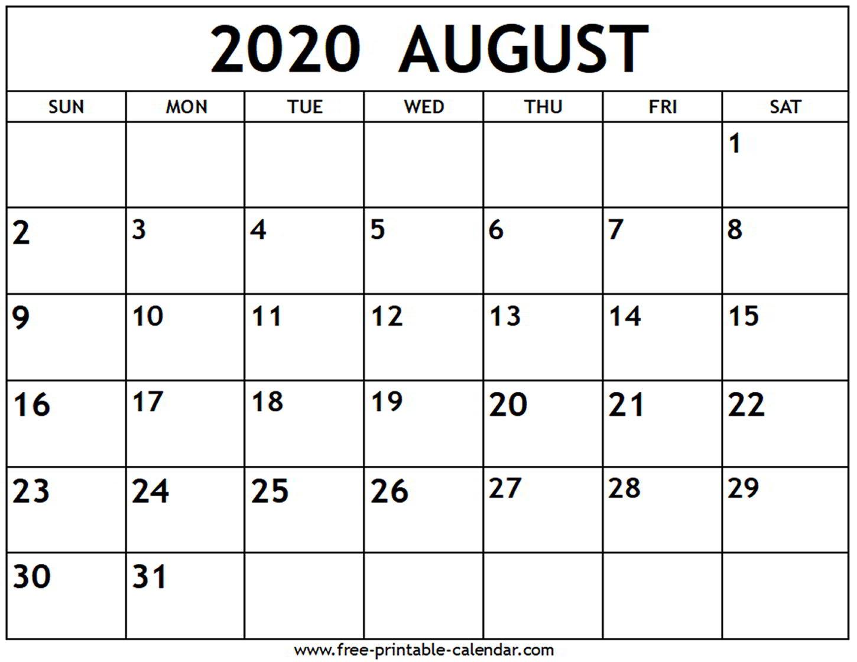 Free Printable August 2020 Calendar - Togo.wpart.co
