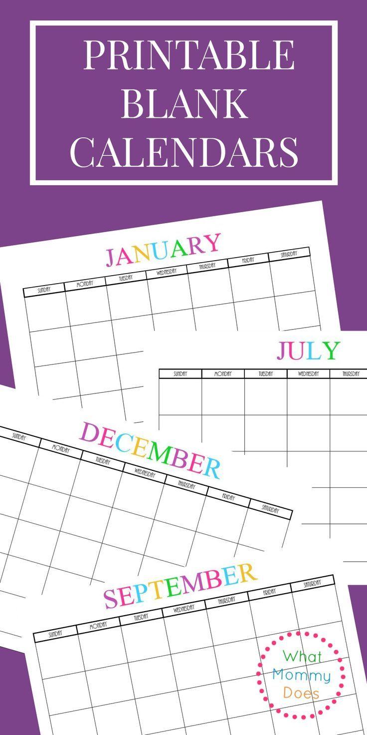 Free Printable Blank Monthly Calendars – 2019, 2020, 2021