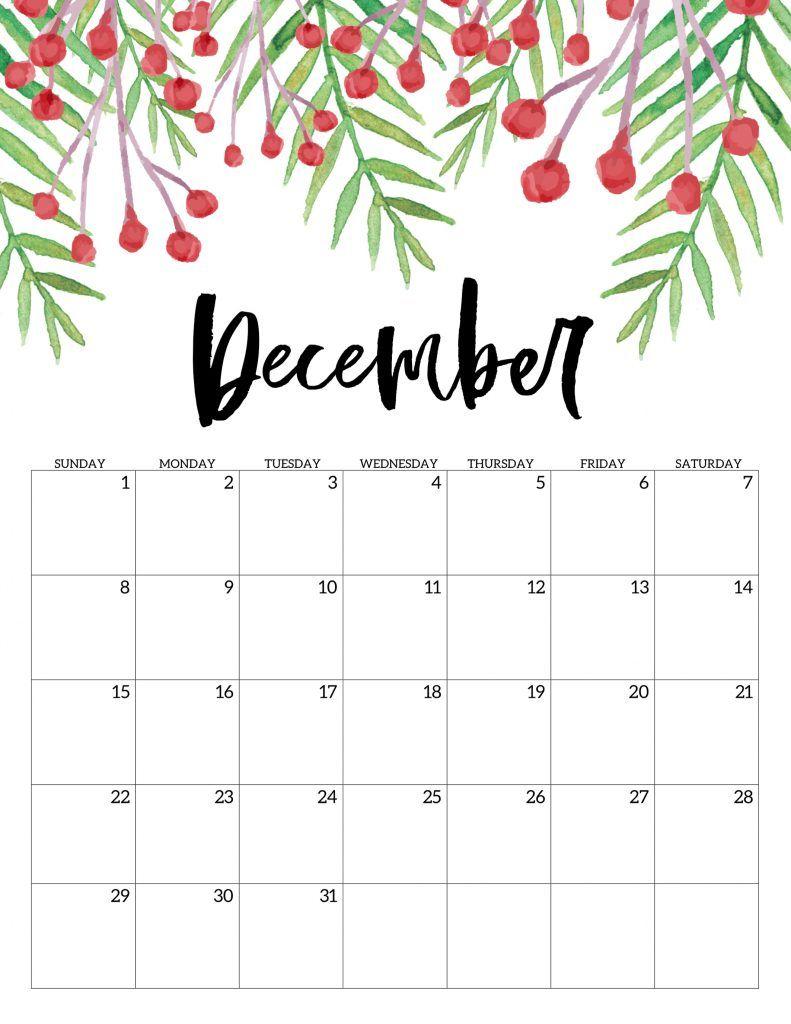Free Printable Calendar 2019 - Floral | Free Printable