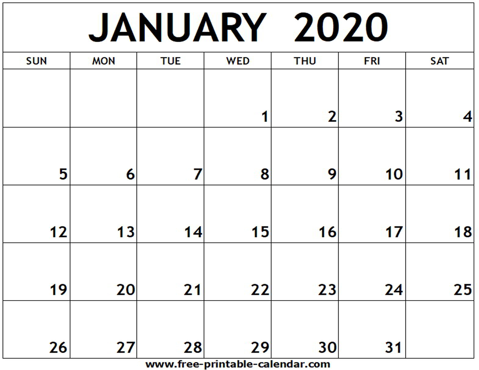 Free Printable Calendar 2020 Template - Togo.wpart.co