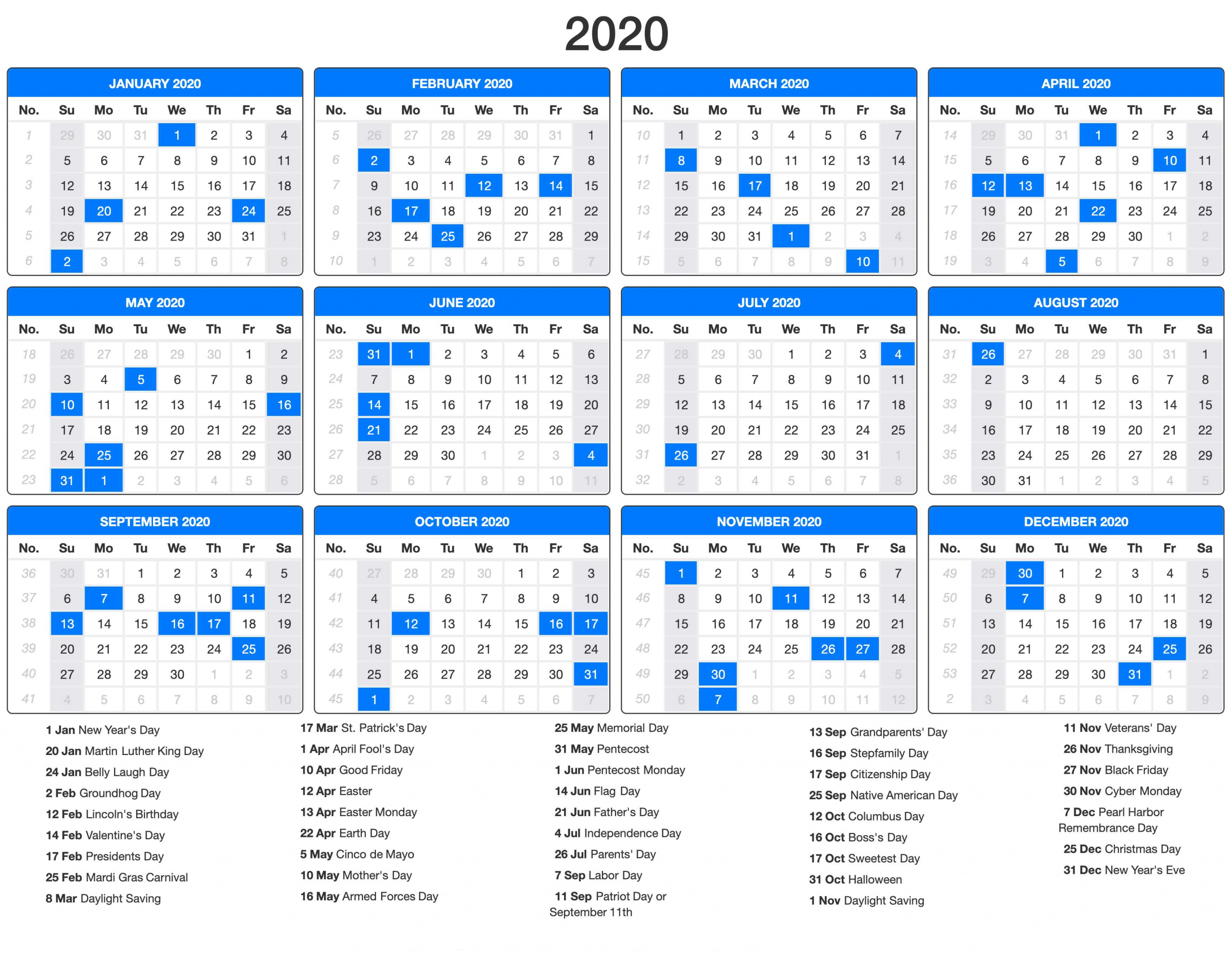 Free Printable Calendar 2020 With Holidays | 12 Month