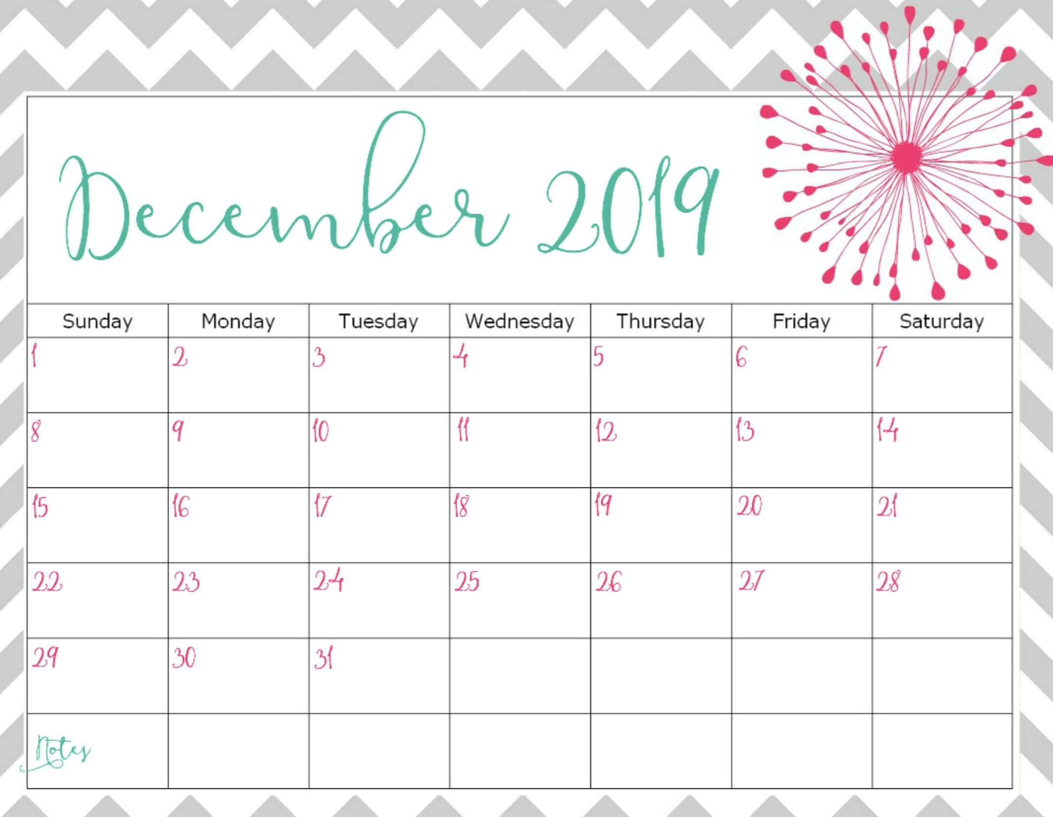 Free Printable Calendar December 2019 Template - Set Your