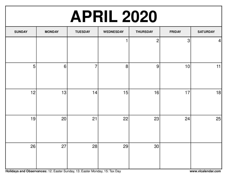 Free Printable Calendar For April 2020