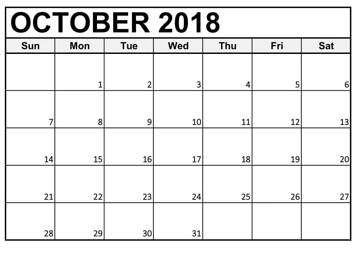 Free Printable Calendar October 2018 Large Numbers