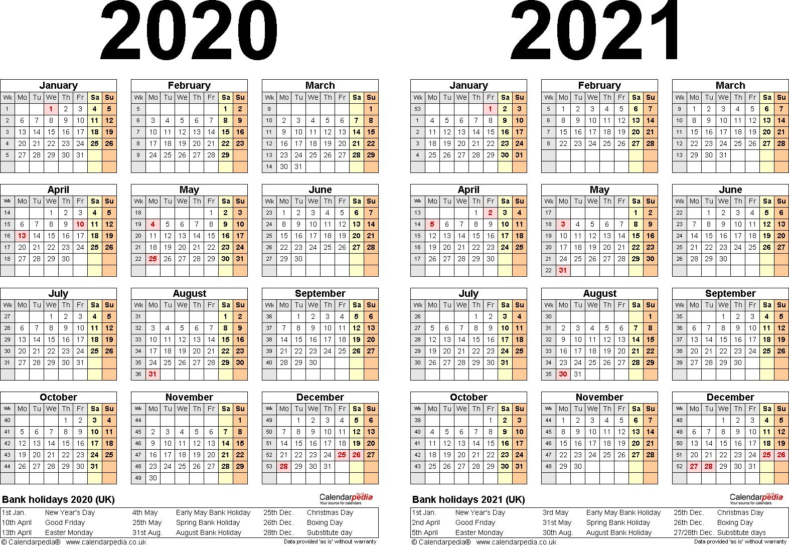 Pick 2 Year Calendar 2020 2021 | Calendar Printables Free ...