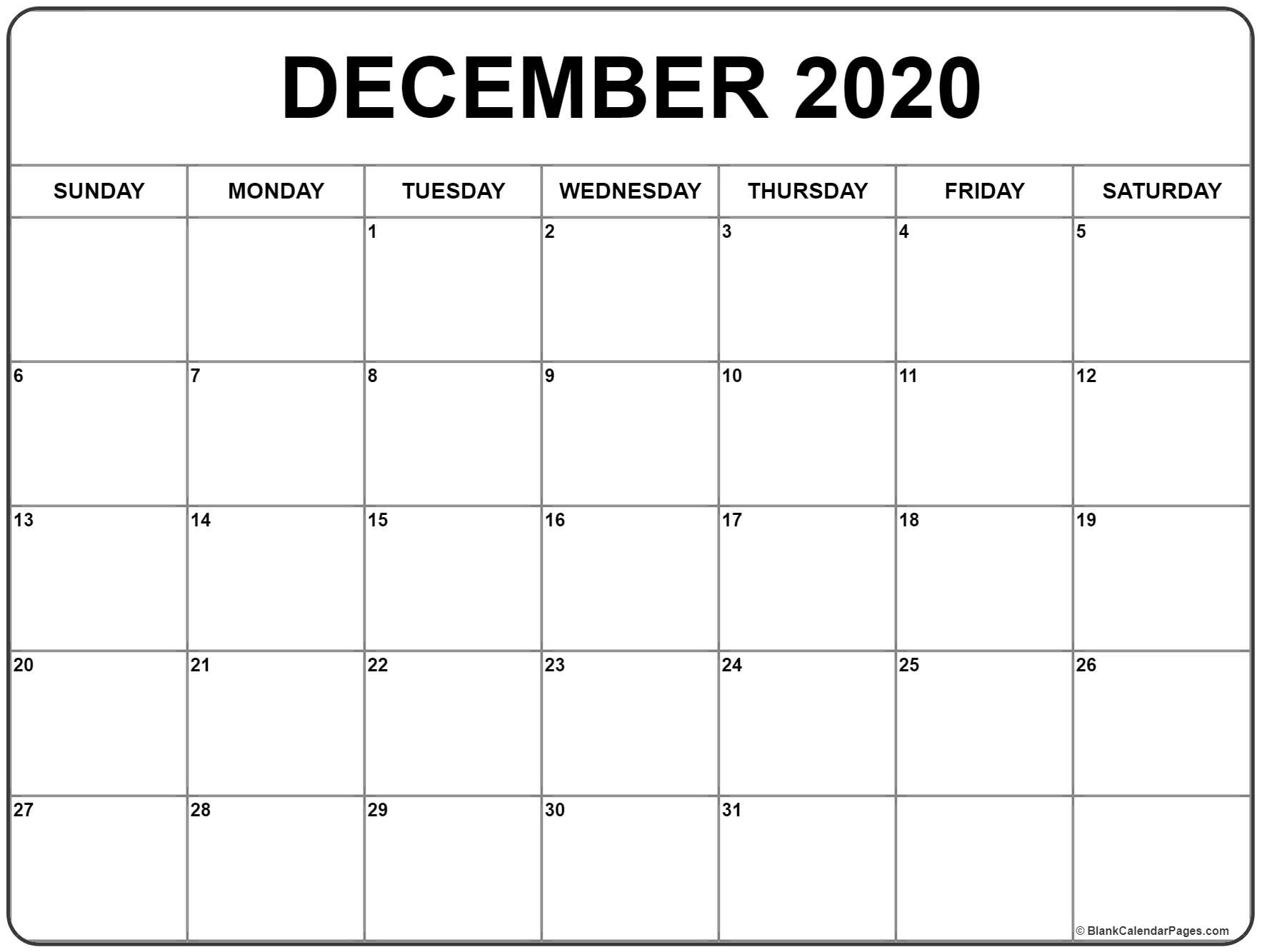 Free Printable Calendars December 2020 - Togo.wpart.co