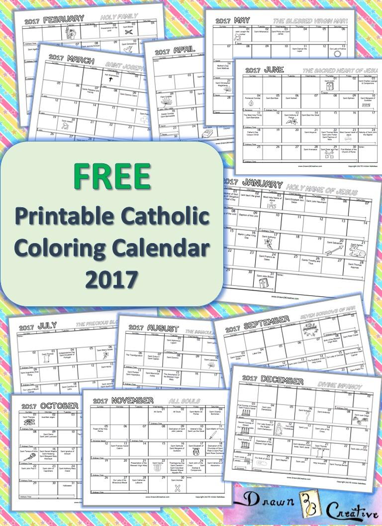 Free Printable Catholic Coloring Calendar 2017 - Drawn2Bcreative