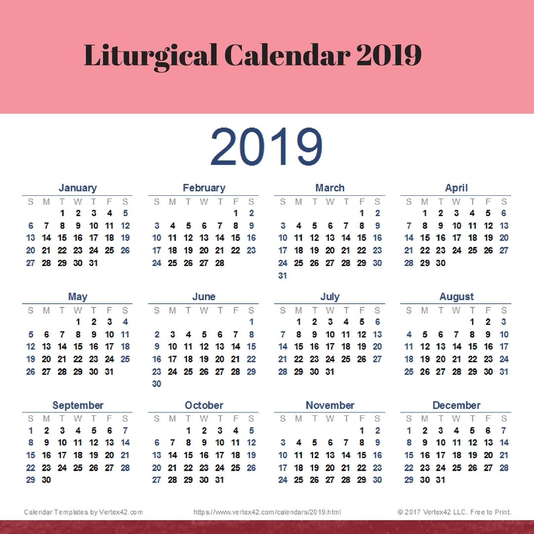 Free Printable Catholic Liturgical Calendar | Example