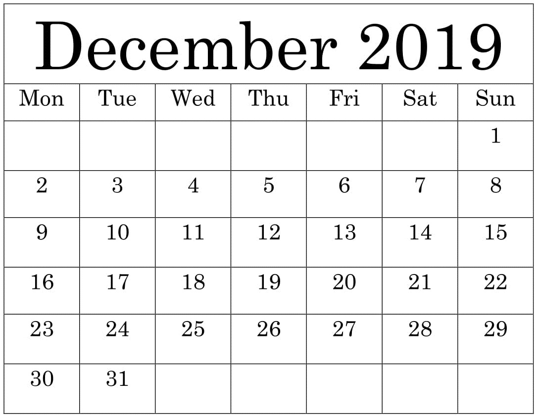 Free Printable December 2019 Calendar Worksheets Template