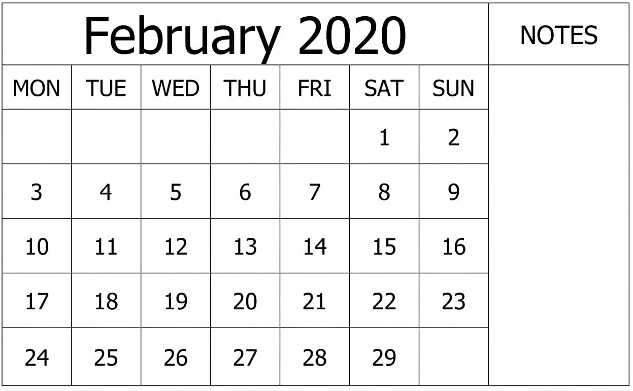 Free Printable February 2020 Calendar By Month – Free Latest