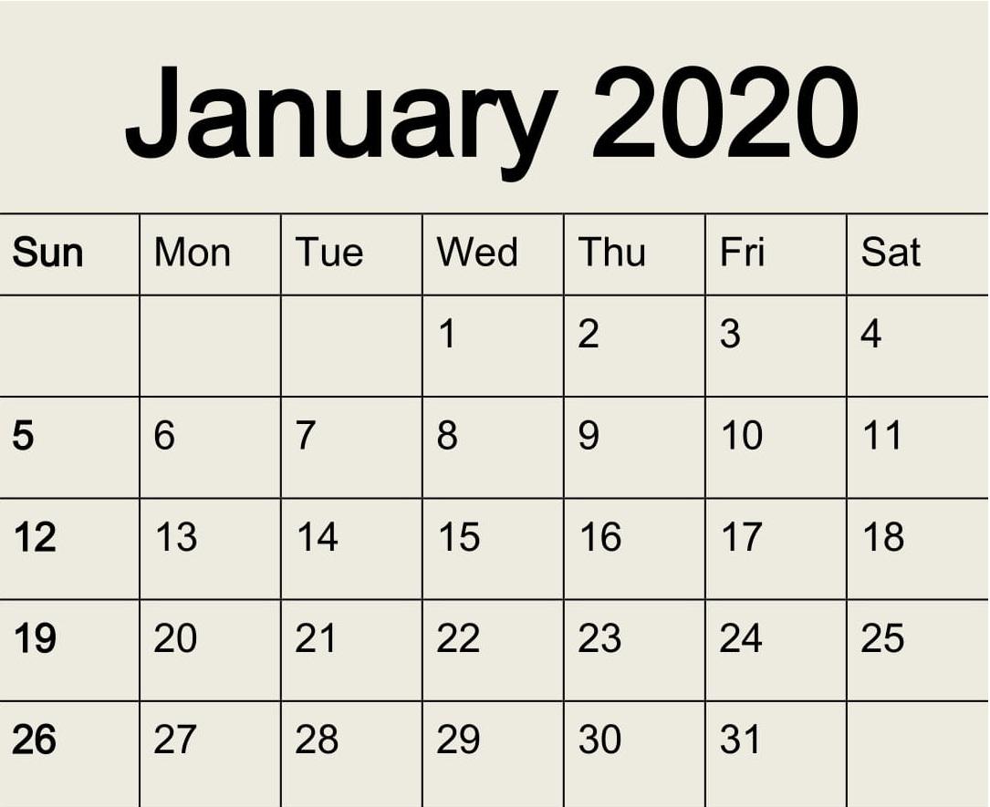 Free Printable January 2020 Calendar Pdf Template - Latest