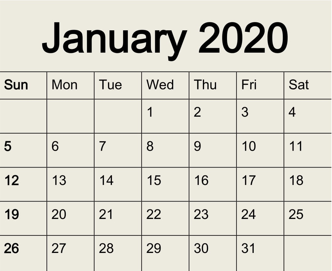 Free Printable January 2020 Calendar Pdf Template - Latest