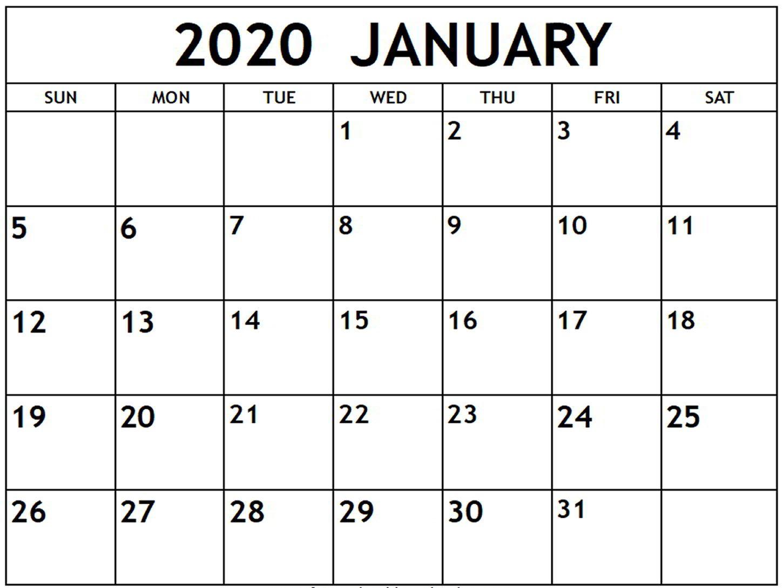 Free Printable January 2020 Calendar Pdf Word Excel Blank