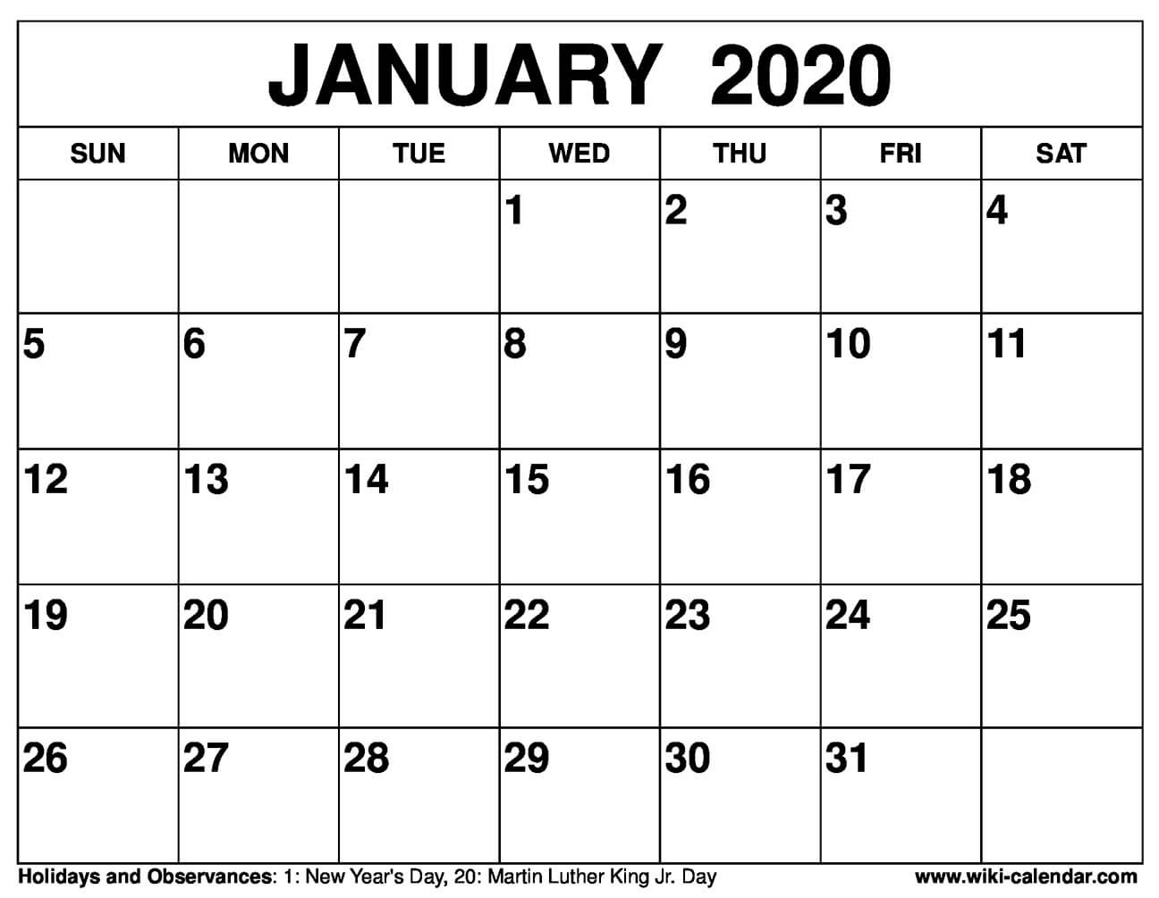 Free Printable January 2020 Calendar - Sharon Gore - Medium