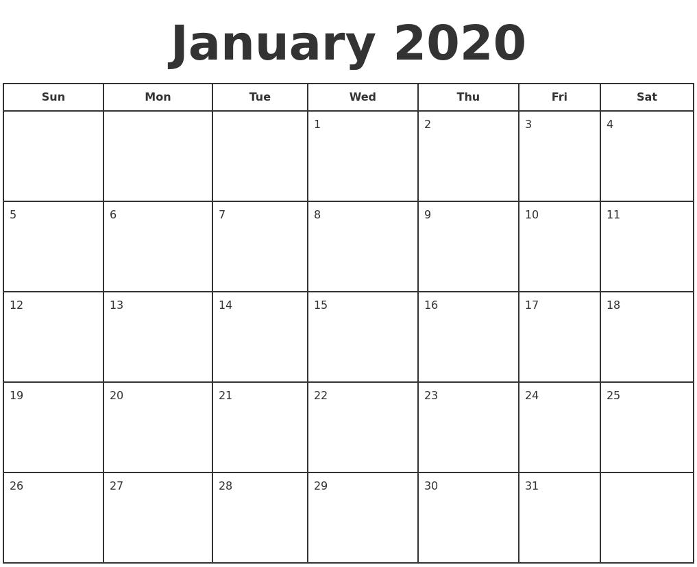 Free Printable January 2020 Calendar Template | Printable