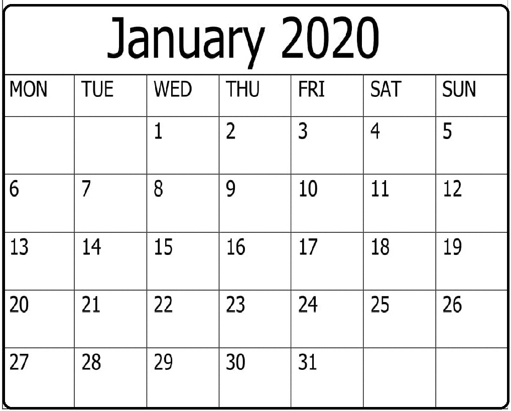 Free Printable January 2020 Calendar Word Template – Free