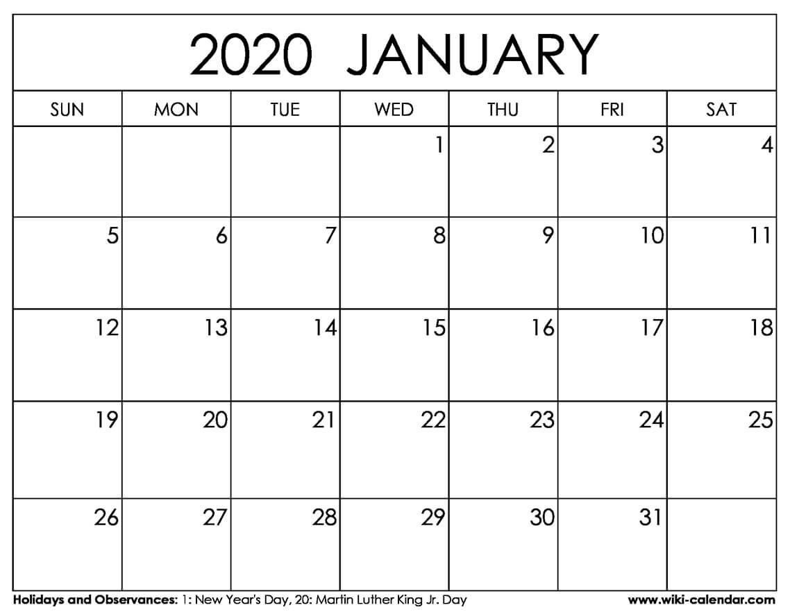Free Printable January 2020 - Wiki Calendar