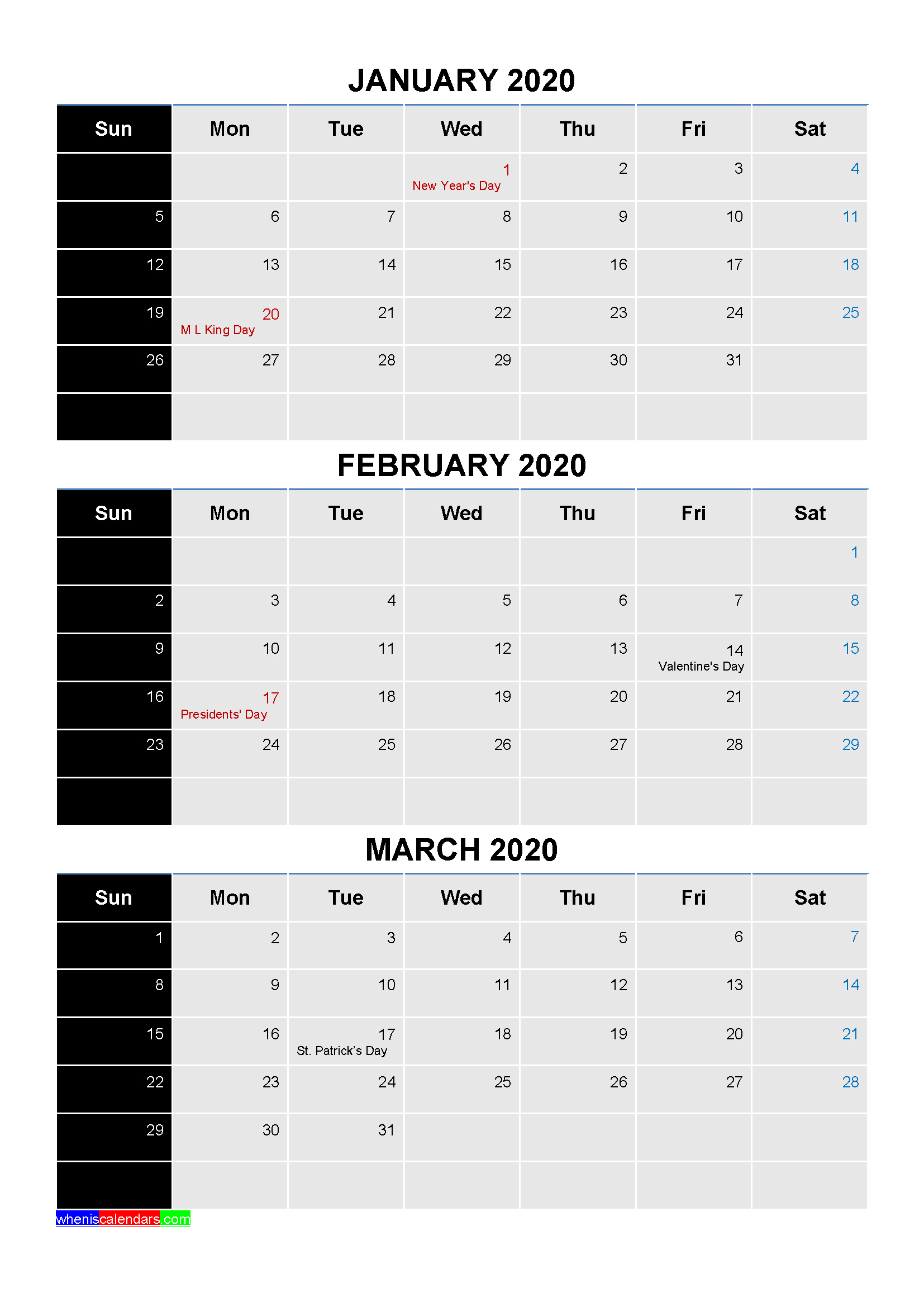 Free Printable January February March 2020 Calendar With