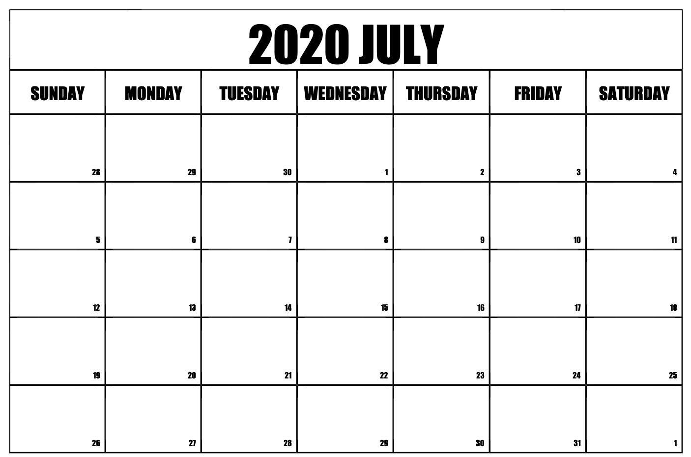 Free Printable July 2020 Calendar | Free Printable Calendar
