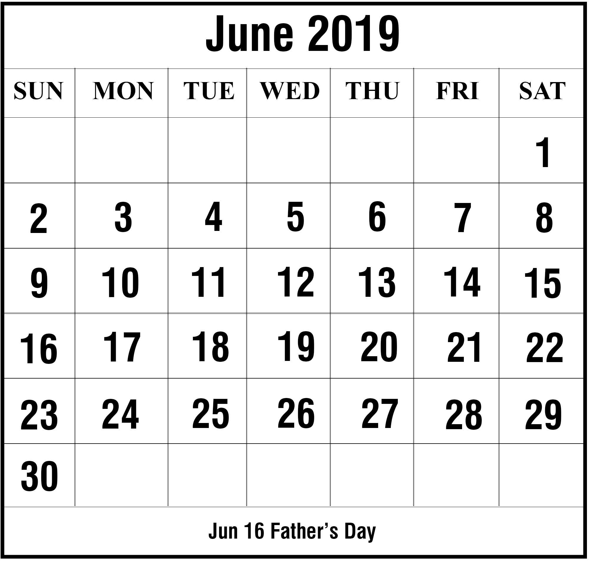 Free Printable June 2019 Calendar Templates [Pdf,word,excel