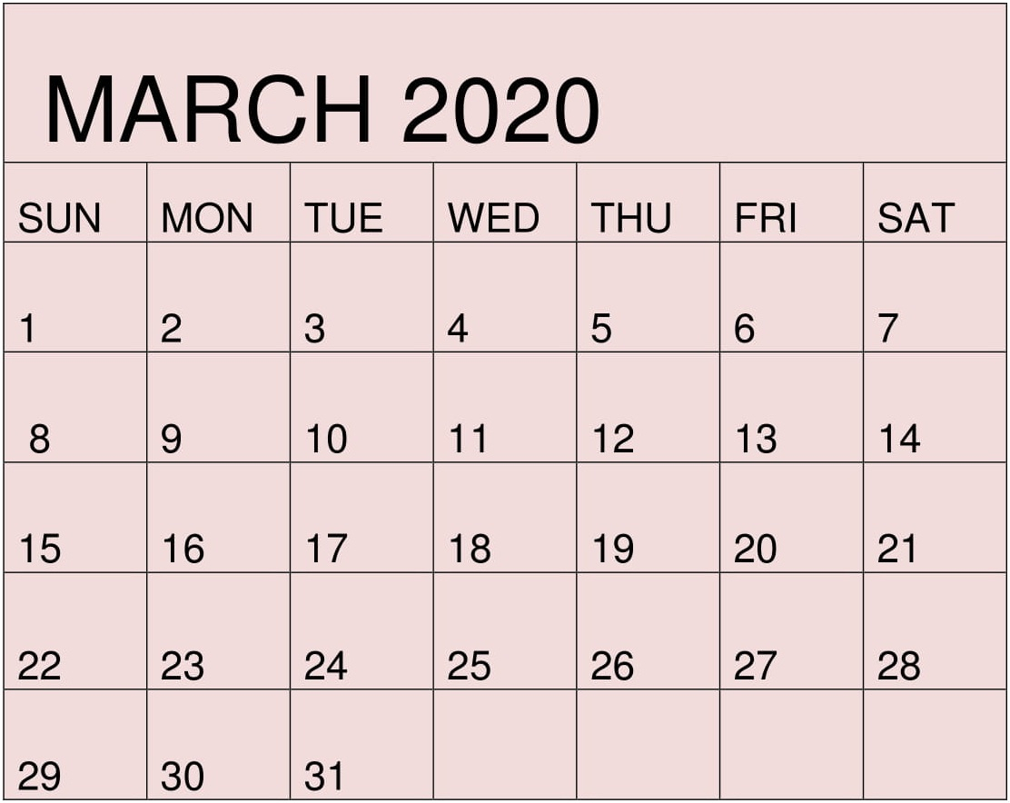Free Printable March 2020 Calendar By Month Template – Free