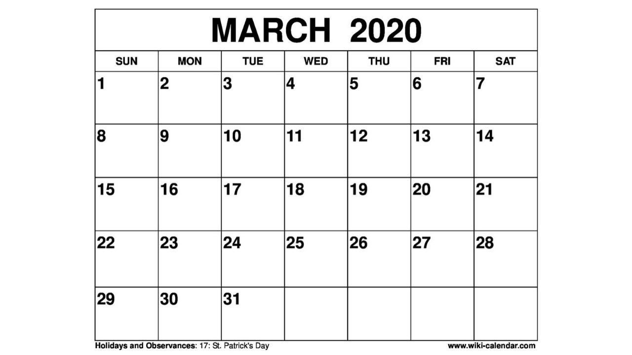 Free Printable March 2020 Calendar - Wiki-Calendar