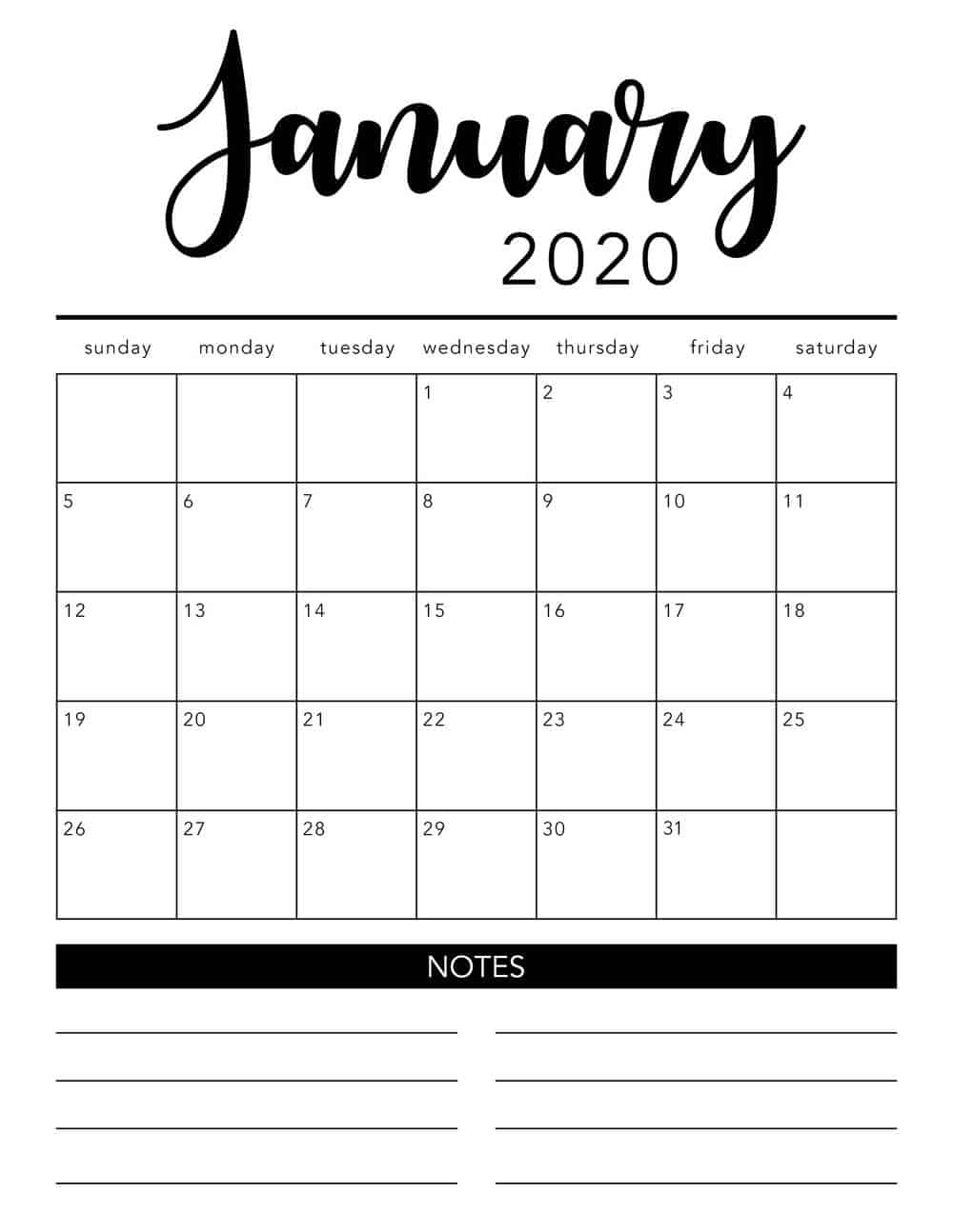 Free Printable Monthly Calendar Templates 2020 - Togo.wpart.co