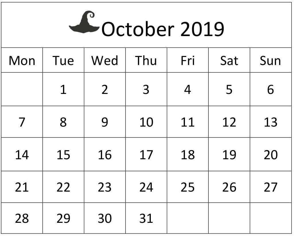 Free Printable October 2019 Calendar Large Print – Free