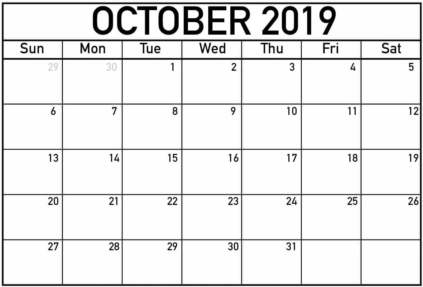 Free Printable October 2019 Calendar Page - 2019 Calendars