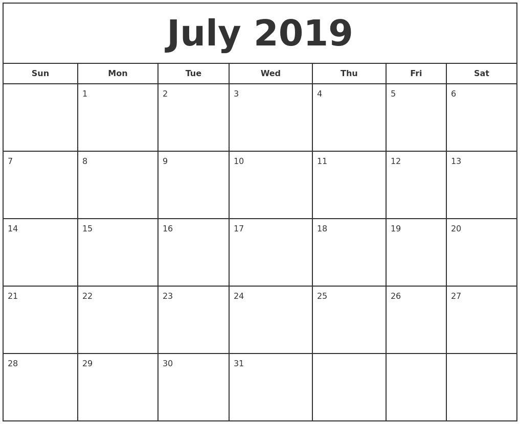 Free Printable Photo Calendar 2019 July 2019 Print Free