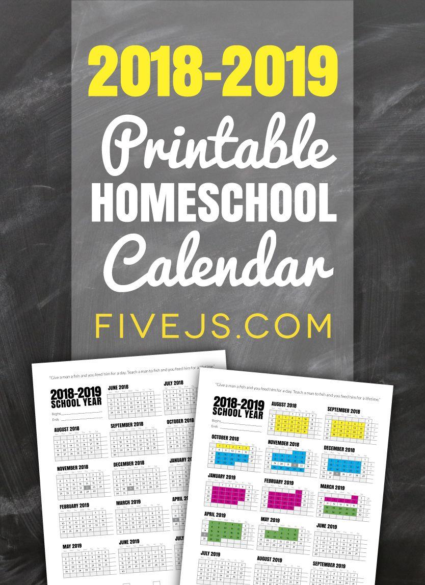 Free Printable School Calendar For 2018-2019 | Homeschool