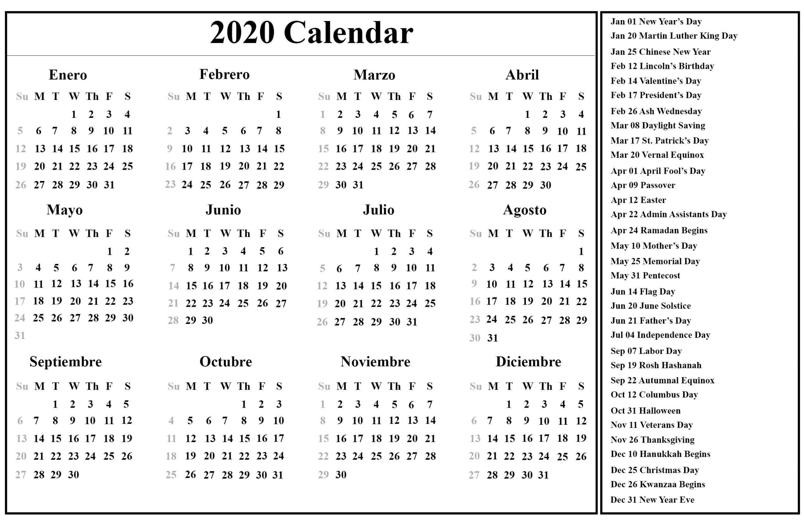 Free Printable Spanish Calendar 2020   2020 Calendario