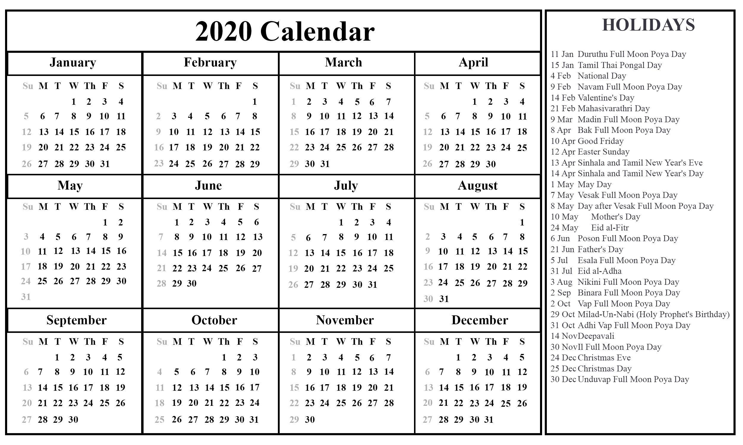 Free Printable Sri Lanka Calendar 2020 [Pdf, Excel & Word