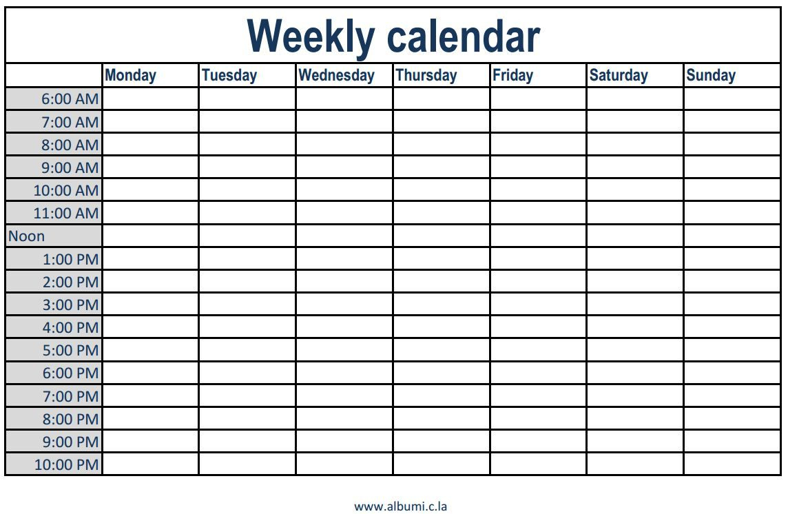 Free Printable Weekly Calendar With Time Slots - Togo.wpart.co