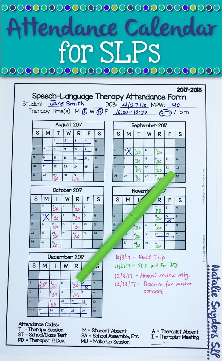Free Slp Attendance Form For 2019-2020 | Speech Therapy