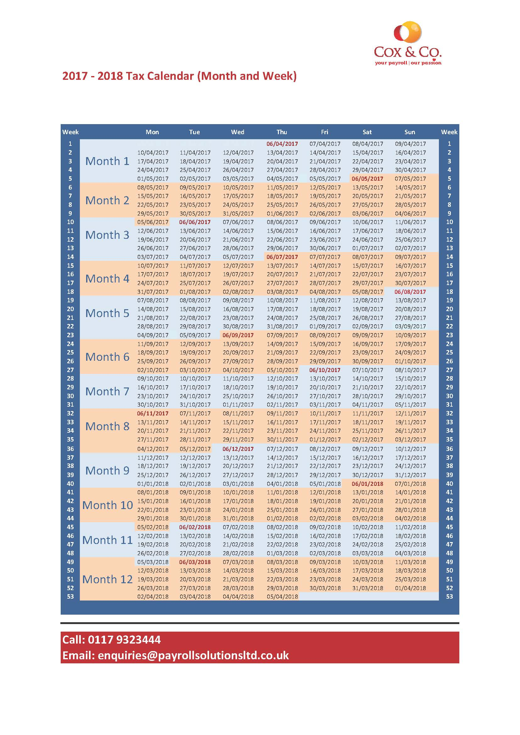 Free Tax Week & Month Payroll Calendar -