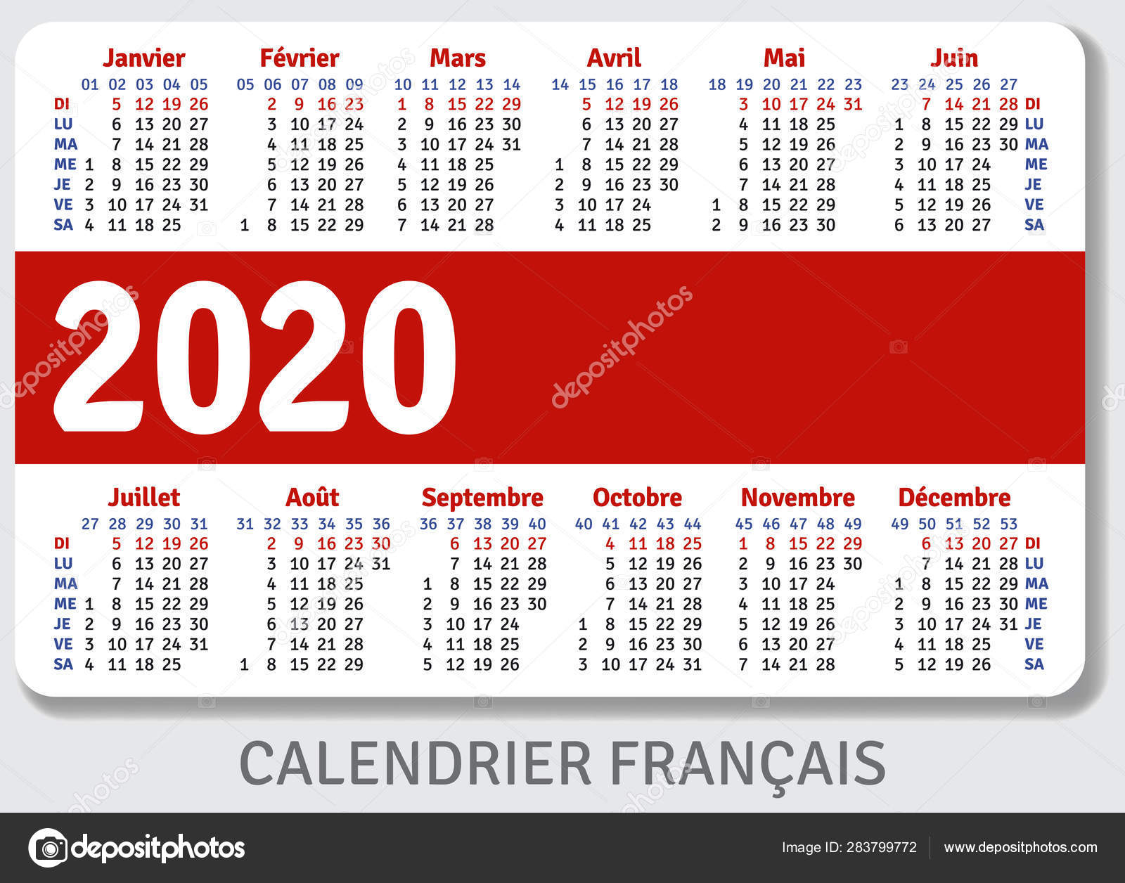 French Pocket Calendar 2020 Standard Size Iso 7810
