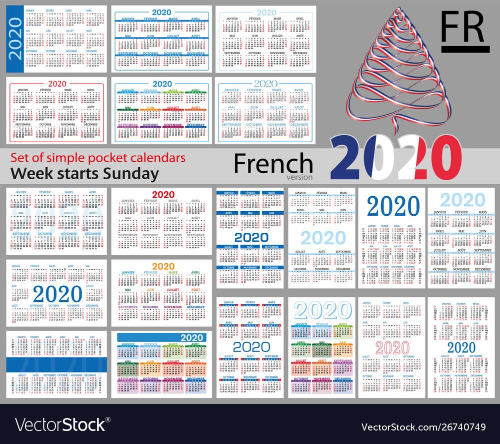 French Set Pocket Calendars For 2020