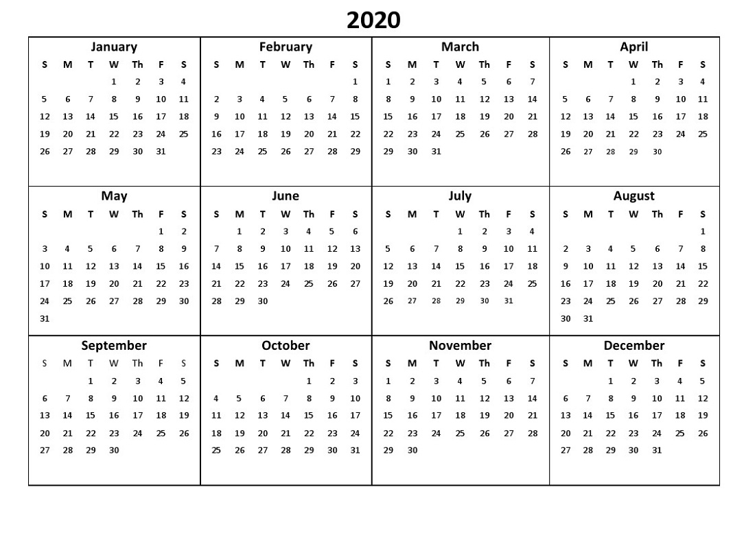 Full Page 2020 Calendar - Togo.wpart.co
