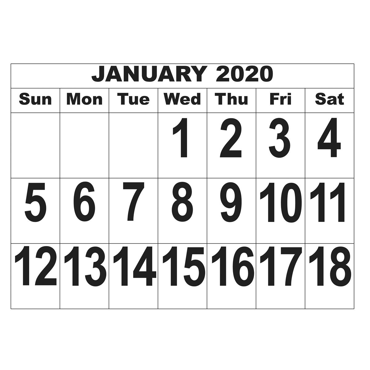 Giant Print Calendar - 2020