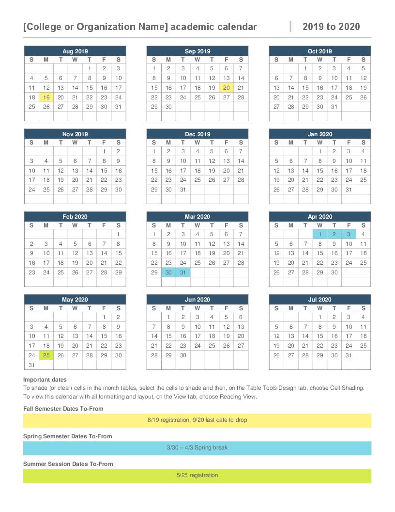 Google Docs Calendar Template 2020 - Togo.wpart.co