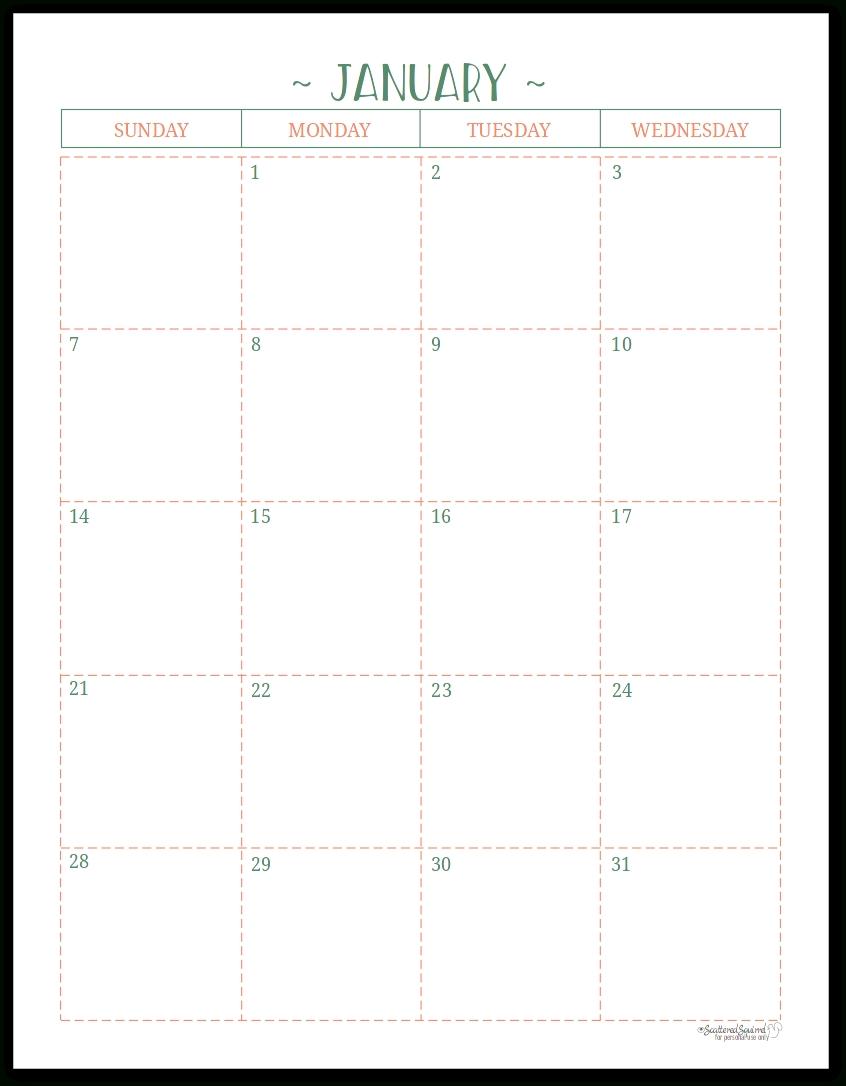 Half Page Monthly Calendar Printable | Example Calendar