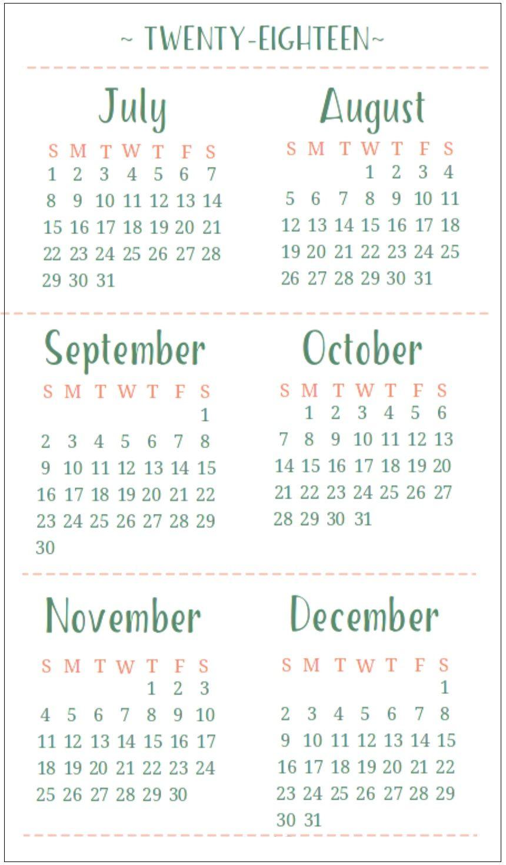 Half Yearly Printable Calendar 2018