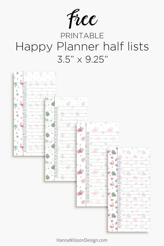 Happy Planner Half List Inserts | Half Page Planner