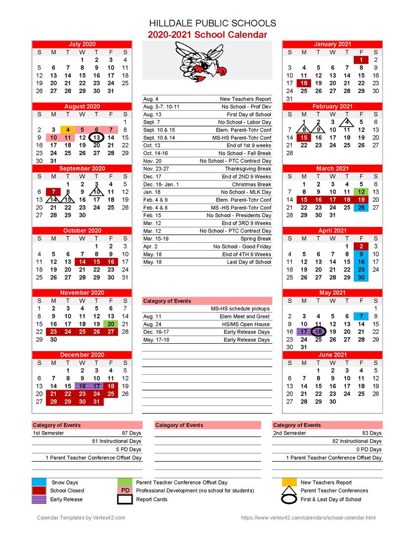 Hilldale Public Schools - 2020-2021 School Calendar