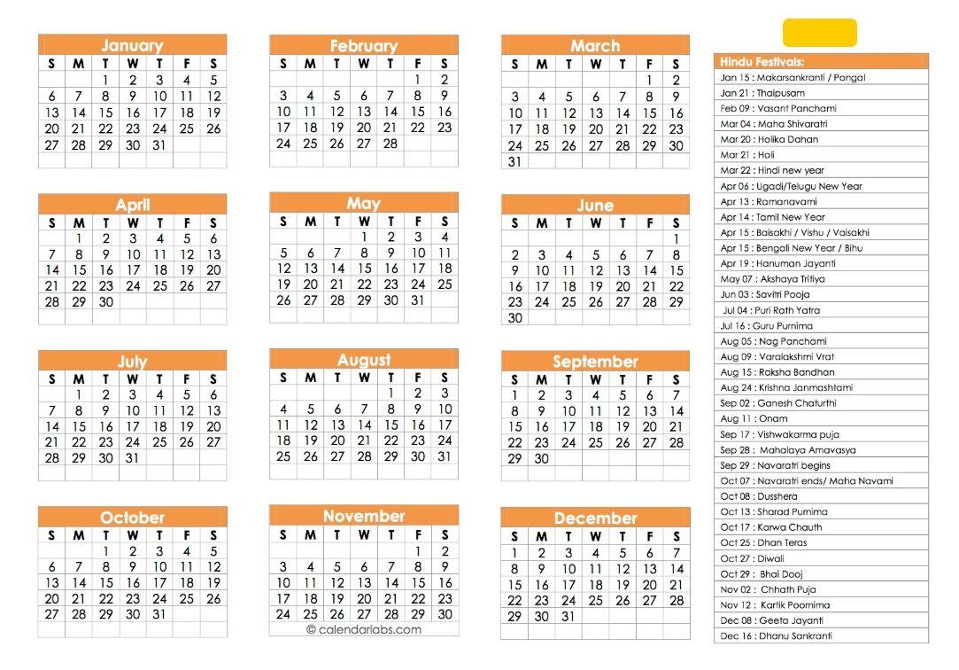 Hindu Calendar 2019 | Festivals, Tyohar, Panchang, Tithi