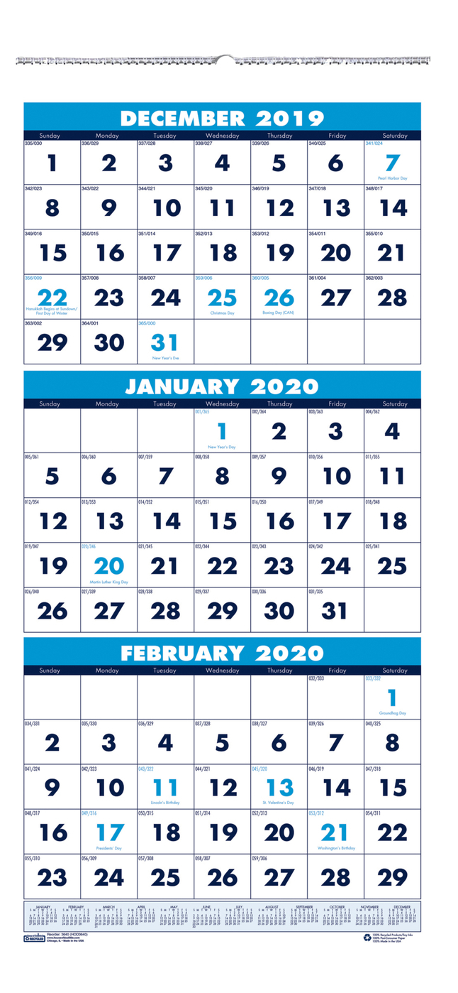 House Of Doolittle 3 Month Vertical Wall Calendar, 2020, 12-1/4 X 26 Inches