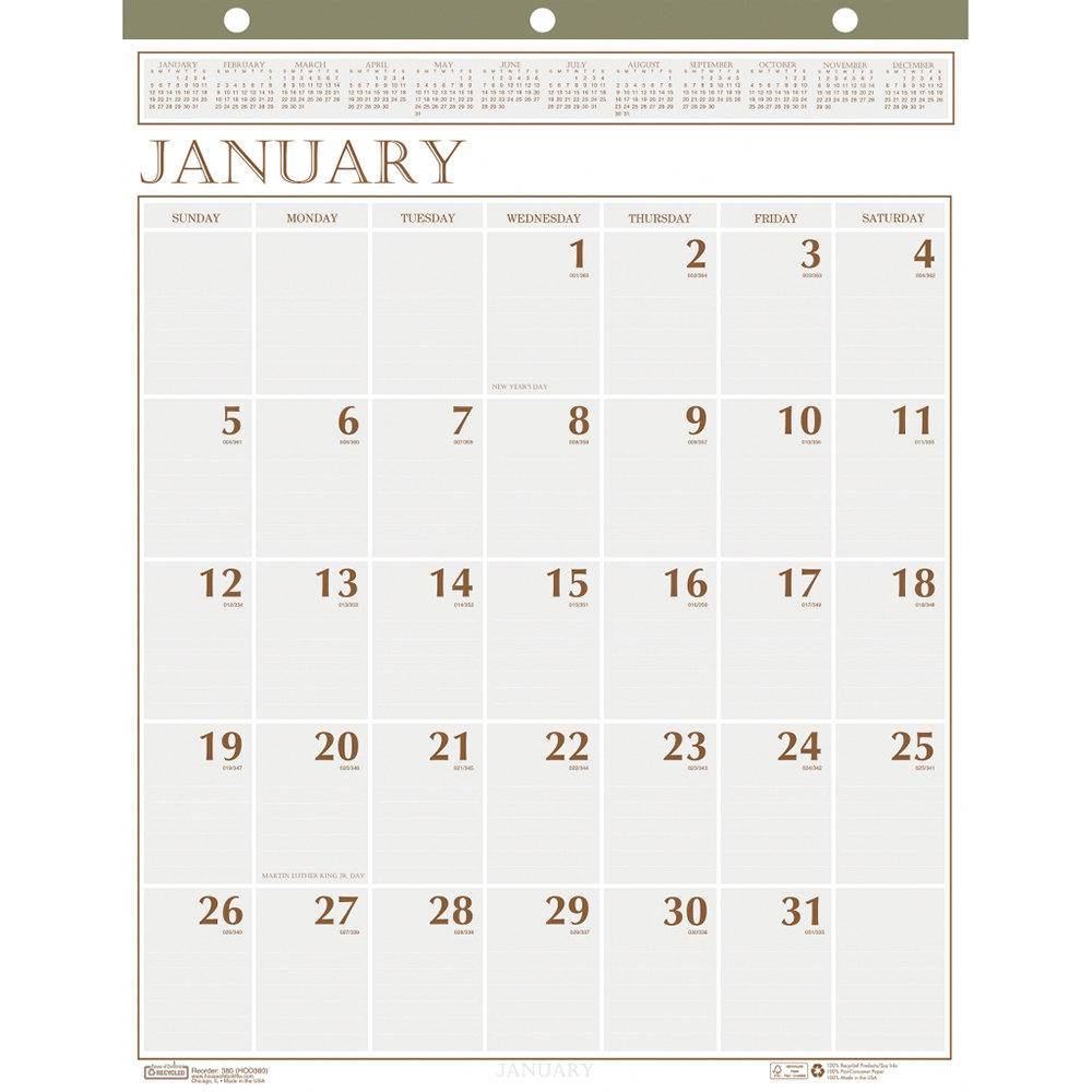 "House Of Doolittle 380 20"" X 26"" Recycled Large Print Monthly January 2020  - December 2020 Wall Calendar"