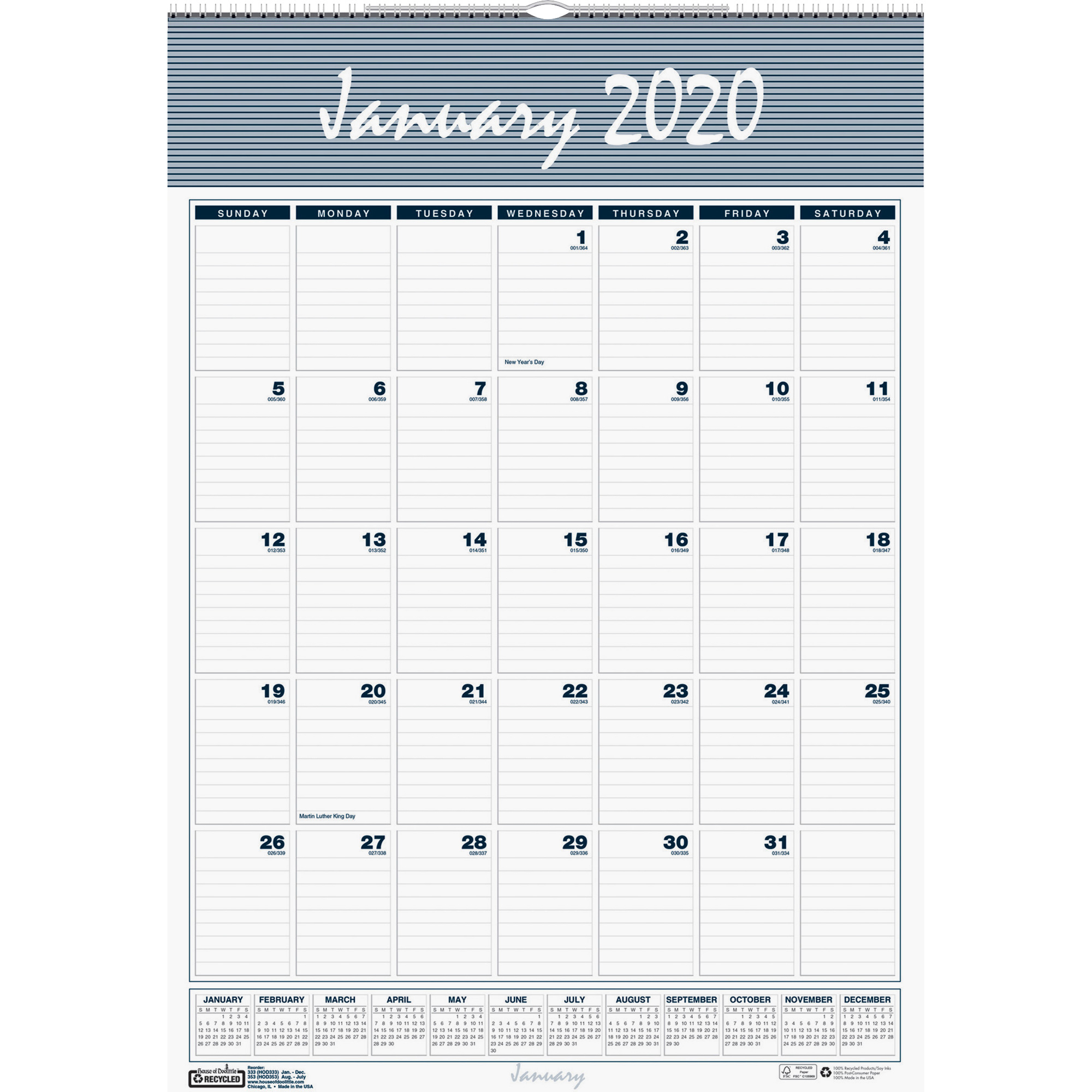"House Of Doolittle Bar Harbor 17"" Wall Calendar - Yes - Monthly - 1 Year -  January 2020 Till December 2020 - 1 Month Single Page Layout - 12"" X 17"" -"